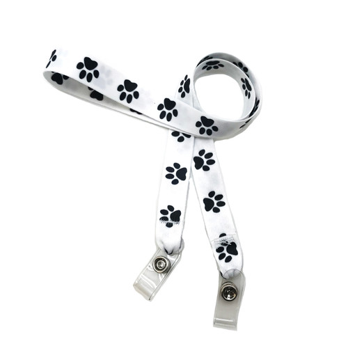 "24"" mask holder with soft plastic snap closures printed with our Paw print design printed on both sides on  5/8"" Ultra Lanyard material is  perfect for adults to keep track of face masks at  work, school, sports practice, lunch and break time."