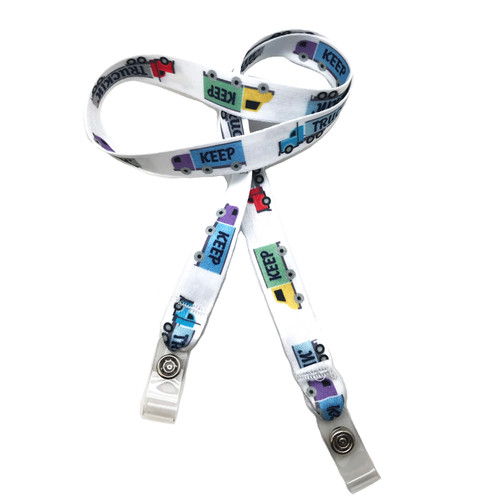 "24"" mask holder with soft plastic snap closures printed with our Keep Truckin' theme design printed on both sides on  5/8"" Ultra Lanyard material is  perfect for adults to keep track of face masks at  work, school, sports practice, lunch and break time."