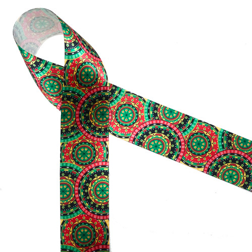"African tribal medallion print in pink, green, black and yellow printed on 1.5"" white single face satin ribbon is an ideal ribbon for  hair bows, head bands, gift wrap, Kwanza, festivals and cultural celebrations. Be sure to have this ribbon on hand for crafts, quilting, sewing and craft projects. All our ribbons are designed and printed in the USA"