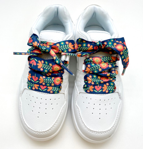 Satin shoelaces boho floral design is perfect for adding some fun and fashion to your sneakers! This is a great shoelace for fun dance shoes, wedding shoes, cheerleading and recitals! All our ribbon shoelaces are printed using dye sublimation technology and can be washed, ironed and re-used! All our laces are designed and printed in the USA