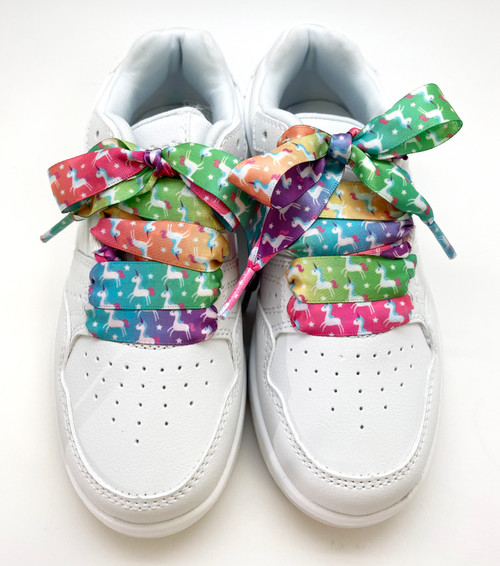 Satin shoelaces Unicorn  design is perfect for adding some fun and fashion to your sneakers! This is a great shoelace for fun dance shoes, wedding shoes, cheerleading and recitals! All our ribbon shoelaces are printed using dye sublimation technology and can be washed, ironed and re-used! All our laces are designed and printed in the USA