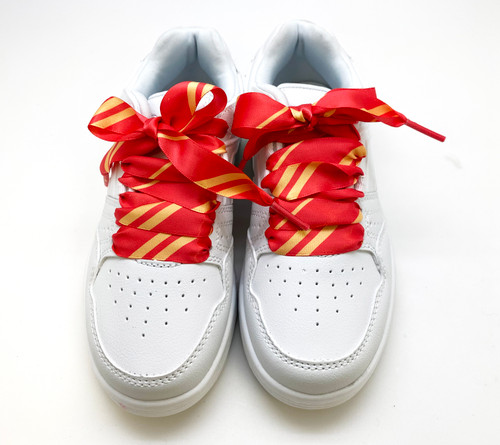 Satin shoelaces tie Hogwarts Gryffindor design is perfect for adding some fun and fashion to your sneakers! This is a great shoelace for fun dance shoes, wedding shoes, cheerleading and recitals! All our ribbon shoelaces are printed using dye sublimation technology and can be washed, ironed and re-used! All our laces are designed and printed in the USA