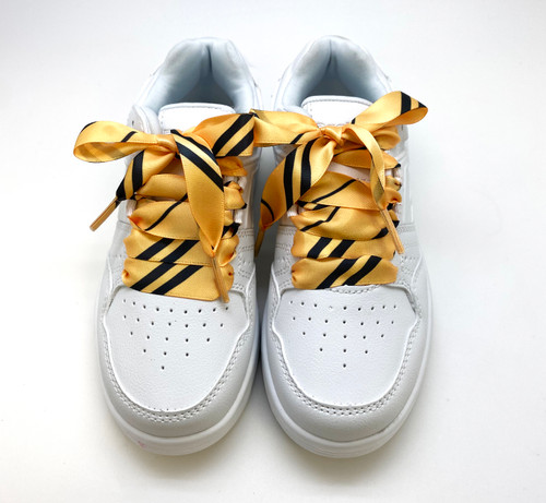 Satin shoelaces tie Hogwarts Hufflepuff design is perfect for adding some fun and fashion to your sneakers! This is a great shoelace for fun dance shoes, wedding shoes, cheerleading and recitals! All our ribbon shoelaces are printed using dye sublimation technology and can be washed, ironed and re-used! All our laces are designed and printed in the USA