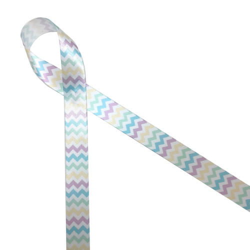 "Pastel chevron in lavender, yellow, and turquoise printed on 7/8"" white single face satin is the ideal ribbon for Spring brunch, Easter baskets, Easter floral designs and baby showers! Be sure  to have this ribbon on hand for all your Spring quilting, sewing and craft projects too! All our ribbon is designed and printed in the USA"