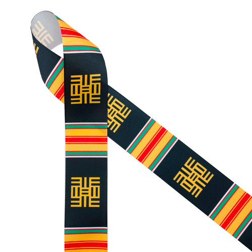 "African Kente  scroll design ribbon in black, yellow, green, and red printed on 1.5"" white grosgrain ribbon is  the ideal ribbon for graduation ceremonies, gifts and celebrations. This is a perfect ribbon for headbands, crafts and quilting too. All our ribbon is designed and printed in the USA"