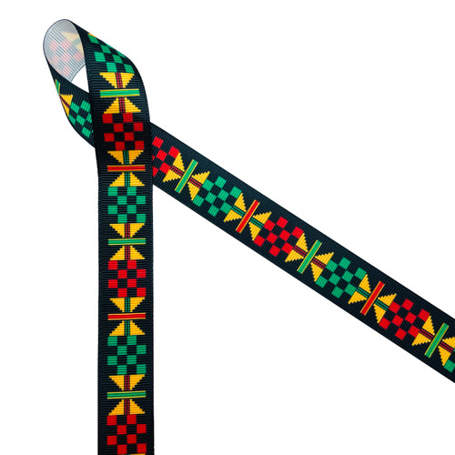 "Ankara Kente African design in traditional colors of yellow, green, red and black printed on 7/8"" white grosgrain ribbon is an ideal ribbon for hair bows, headbands, sewing projects, crafts and festivals. All our ribbons are designed and printed in the USA"