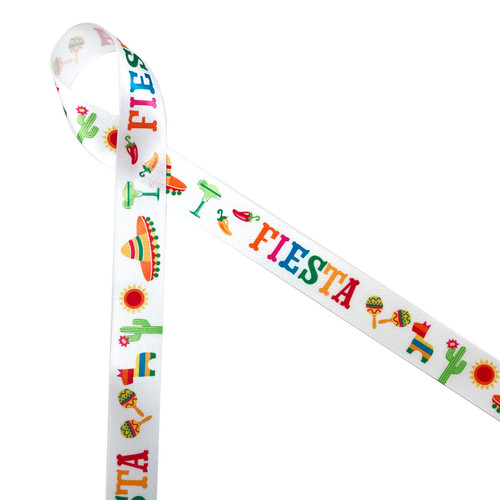 "Fiesta in pink, orange, blue, yellow and red with maracas, sombreros, chili peppers, pinatas, and margaritas printed on 7/8"" white single face satin ribbon is perfect for Cinco De Mayo celebrations! This is a great ribbon for party decor, Southwestern themed parties and lots of Summer fun! All our ribbon is designed and printed in the USA"