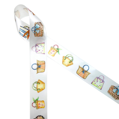 """Beautiful watercolor beach bags each one unique and colorful line up on 1.5"""" white single face satin ribbon ideal for gift wrap wedding decor, bridal showers and Summer gifting! Use this gorgeous ribbon for quilting and sewing projects too! All our ribbon is designed and printed in the USA"""