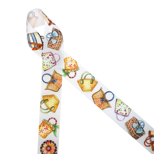 """Beautiful watercolor beach bags each one unique and colorful line up on 1.5"""" white grosgrain ribbon ideal for gift wrap wedding decor, bridal showers and Summer gifting! Use this gorgeous ribbon for quilting and sewing projects too! All our ribbon is designed and printed in the USA"""