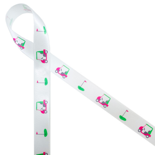 """Golf carts in pink and green with greens flag printed on 5/8"""" white single face satin ribbon is ideal for all ladies golfing events. This is fun ribbon for gift wrap, awards banquets, tournaments and Mother's Day. Make sure you have this fun ribbon on hand for the lady golfer in your life! All our ribbon is designed an printed in the USA"""