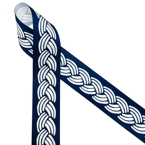 """Nautical rope in white on a navy blue background printed on 1.5"""" white grosgrain ribbon is ideal for any Summer preppy party! This is a great ribbon for hair bows, headbands, hat bands, party decor, quilting and sewing projects! All our ribbon is designed and printed in the USA"""