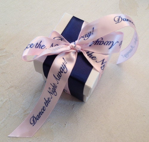 A fun favor box dressed in navy blue grosgrain and our Dance the Night Away in navy and pink. So pretty and preppy!