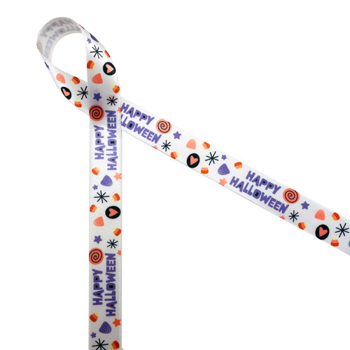 """Happy Halloween in lavender with elements of black and lavender printed on 5/8"""" white single face satin ribbon is a fun color palette for a pastel Halloween celebration. This is a great ribbon for treat bags, party favors, party decor, cookies, cake pops, candy tables and sweet shops! All our ribbon is designed and printed in the USA"""