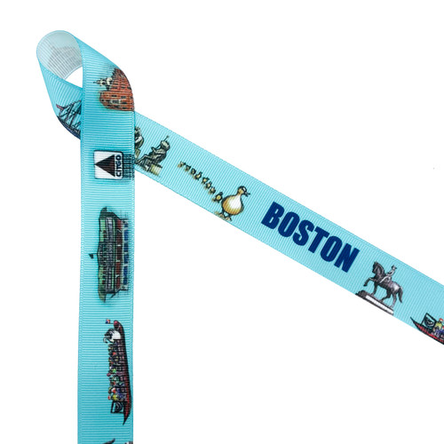 """Boston landmark ribbon featuring many of the prominent landmarks of the city printed on 7/8"""" white grosgrain ribbon is the perfect ribbon for gift wrap, wedding favors, packaging and gift baskets with a Boston theme. This is a fun ribbon for head bands, hair bows and welcome bags too! All our ribbon is designed and printed in the USA"""