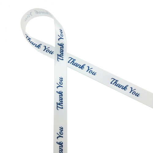 "Thank you navy blue ink on 5/8"" white Satin ribbon"