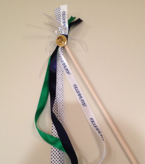 This couple chose navy and emerald for their colors. We think our Celebrate ribbon is a perfect compliment for their wedding wands!