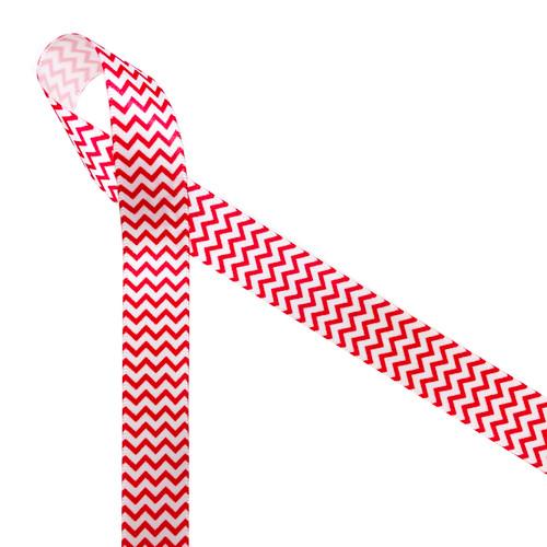 "Micro Mini Chevron pattern in red ink on 5/8"" white Single Face Satin ribbon"