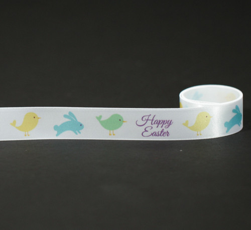 """Happy Easter with Chicks on white single face satin ribbon 7/8"""""""