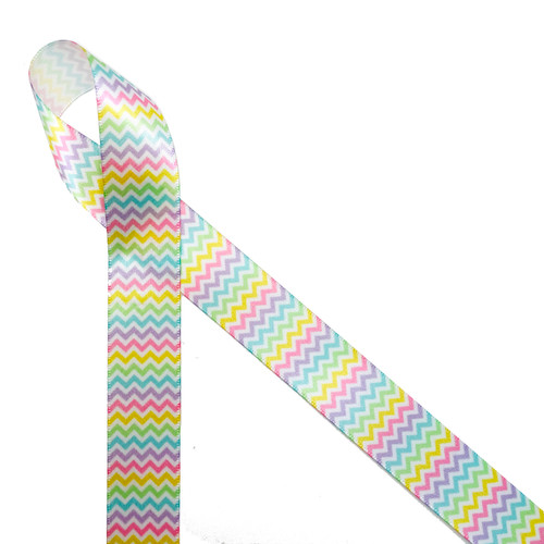 "Pastel Micro Mini Chevron on 7/8"" White Satin, 10 Yards"
