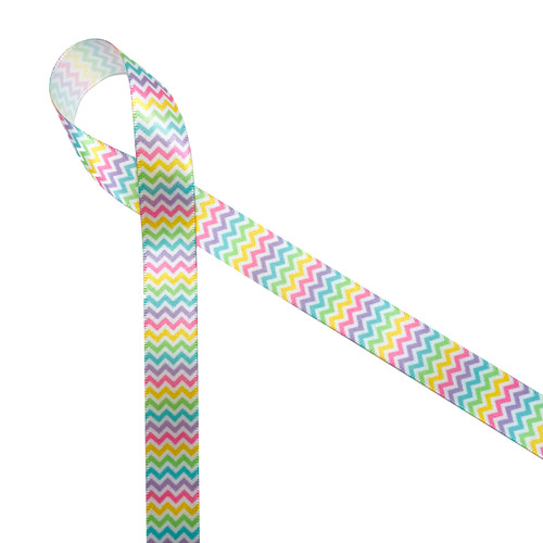 "Micro Mini Chevron in Pastel on 5/8"" white single face satin ribbon"