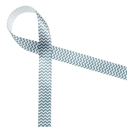 "Micro Mini Chevron in gray and white on 5/8"" single face satin ribbon"