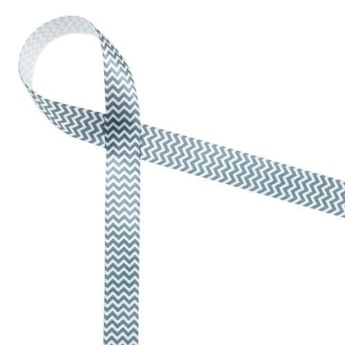 "Micro Mini Chevron in gray and white on 5/8"" single face satin ribbon"