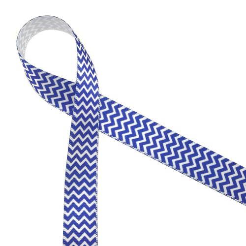 """Micro Mini chevron with navy blue on white 5/8"""" single face satin ribbon"""