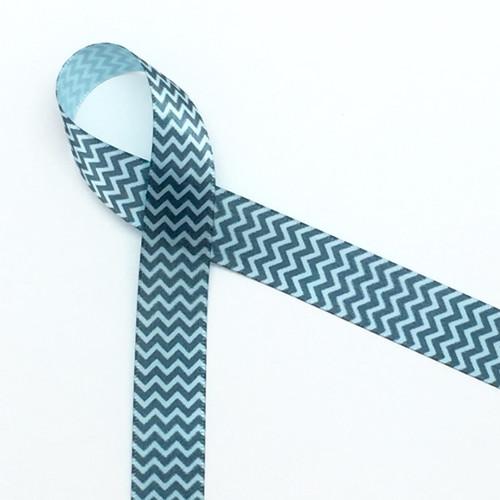 "Micro Mini chevron in gray on light blue 5/8"" single face satin ribbon"