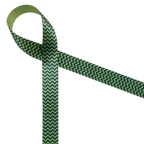 Navy ink in micro mini chevron on Spring green ribbon
