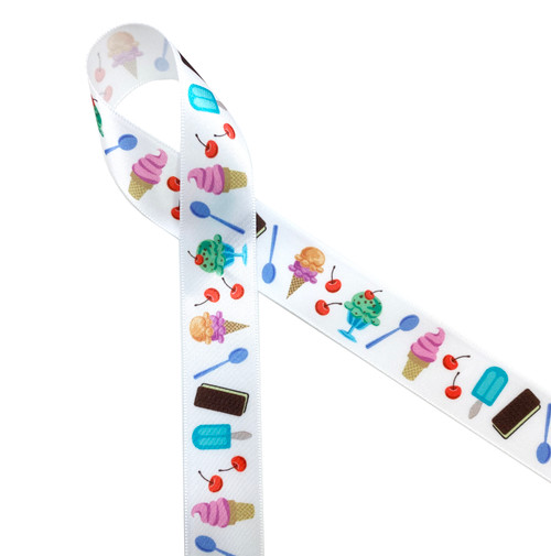 Ice Cream novelties ribbon features ice cream cones, ice cream sundaes, popcicles,  and ice cream sandwiches! This sweet ribbon is perfect for and ice cream sundae party, Summer pool party or sweets table. Be sure to have this ribbon on hand for all your Summer fun! Our ribbon is designed and printed in the USA