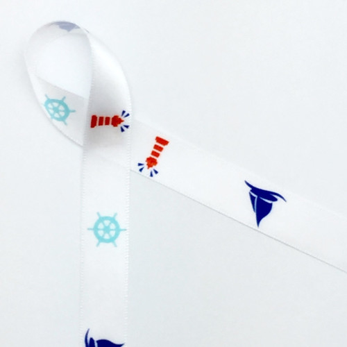 Lighthouses, ship wheels, and sailboats are the epitome if Summer at the seaside. Be sure to add this ribbon to your Summer nautical themed party favors and your guests will be transported to the ocean!