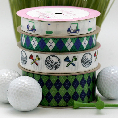 "Golf theme ribbon with carts and clubs in Green and Blue on White 5/8"" Single Face Satin, 10 Yards"
