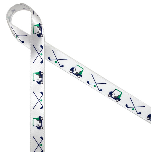 "Golf carts with clubs in green and blue on 5/8"" white satin ribbon is an ideal addition to your golf tournament gifts and favors. It's great for Father's Day too!"
