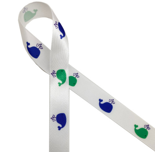 "Spouting whales in blue and green on 5/8"" white single face satin ribbon is an ideal ribbon for any Summer party or a Father's Day gift!"