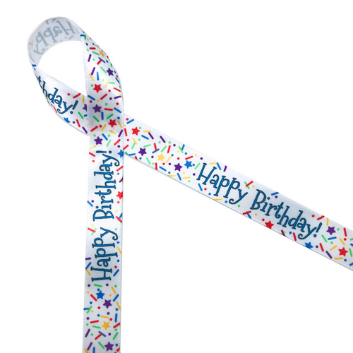 "Happy Birthday on 5/8"" White single face satin ribbon is embellished with sprinkles and stars for a complete birthday celebration."