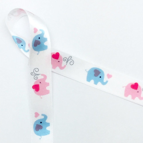 "Elephants of pink and blue march in a row along our 5/8"" wide single face satin ribbon!"