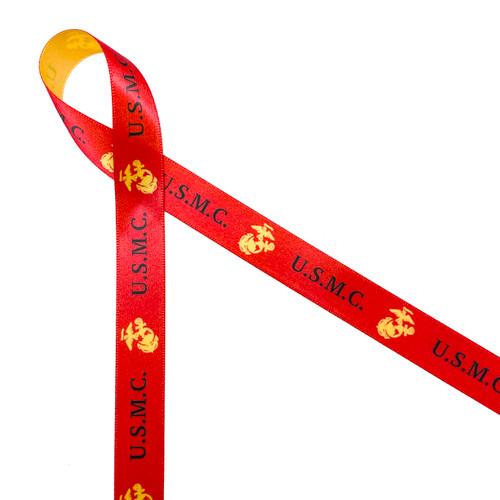 "USMC on red ribbon with a gold logo 5/8"" single face satin ribbon"