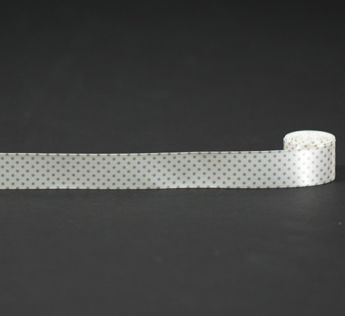 """Pin Dots Ribbon in Champagne on Antique White 7/8"""" Single Face Satin Ribbon, 10 Yards"""
