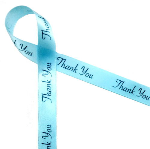 Thank you in gray ink on light blue single face satin ribbon 5/8""