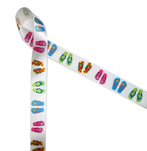"""Flip flops on 7/8"""" Single Face Satin ribbon is sure to make a splash at your next beach or pool party!"""