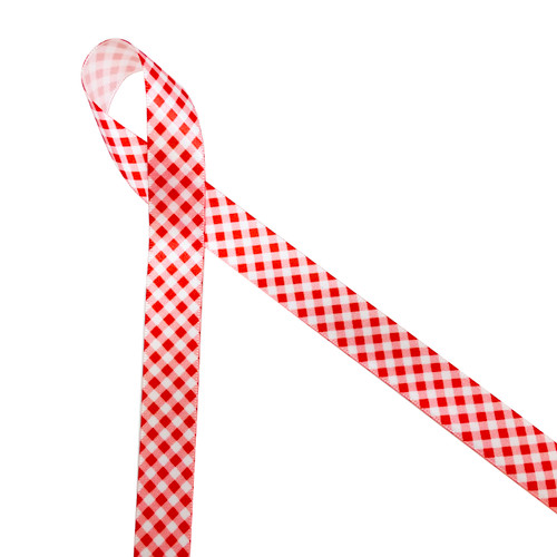 """Red and white gingham check on white 5/8"""" single face satin ribbon"""