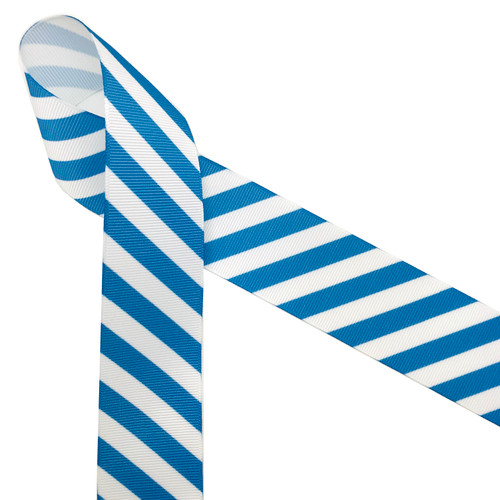 Cabana stripes in blue and white is a classic summer ribbon! This is the perfect ribbon for hair bows, parties and beach themed events! Be sure to have this ribbon on hand for all your Summer projects!