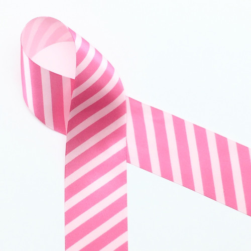 "Pink Stripes on Lt. Pink 1.5""single face satin ribbon"