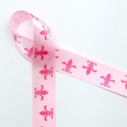 "Fleur de Lis in medium pink on 7/8""  Lt. Pink Single Face Satin Ribbon 10 Yards"