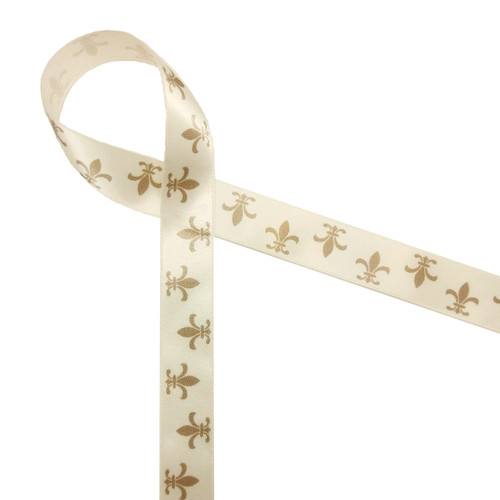 "Fleur de Lis in Champagne in on Antique White 7/8"" Single Face Satin ribbon, 10 Yards"