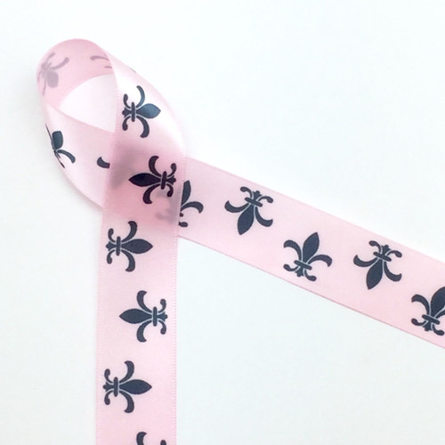 "Fleur de Lis in gray on 7/8"" Light Pink single face satin ribbon, 10 Yards"