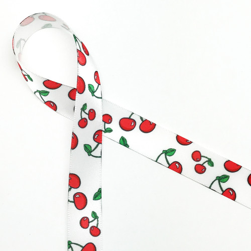 "Cherries on white 5/8"" single face satin ribbon, 10 yards"