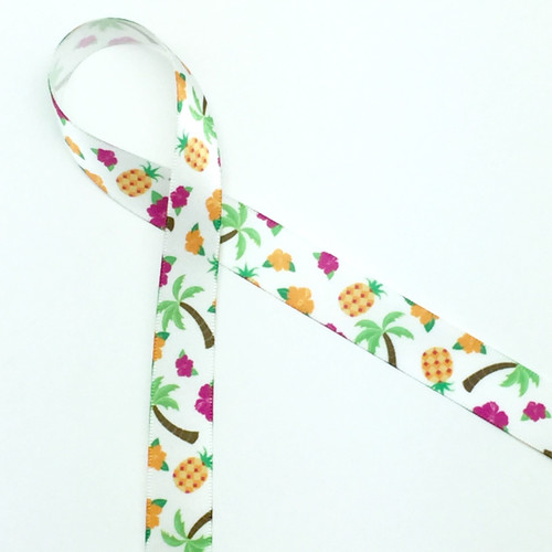 Our Hawaiian Tropical design ribbon is favorite for Summer luau parties! Add this ribbon to your sweets and favors for your pineapple and flamingo themed parties!