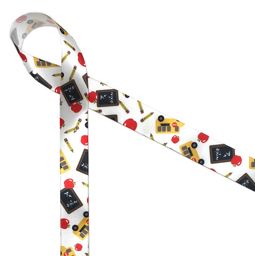 """Back to School on 5/8"""" white single face satin features school buses, black boards, pencils and an apple for the teacher! This is an ideal ribbon for teacher appreciation week, gift wrap, party favors, party decor, quilting and crafts1 Designed and printed in the USA."""