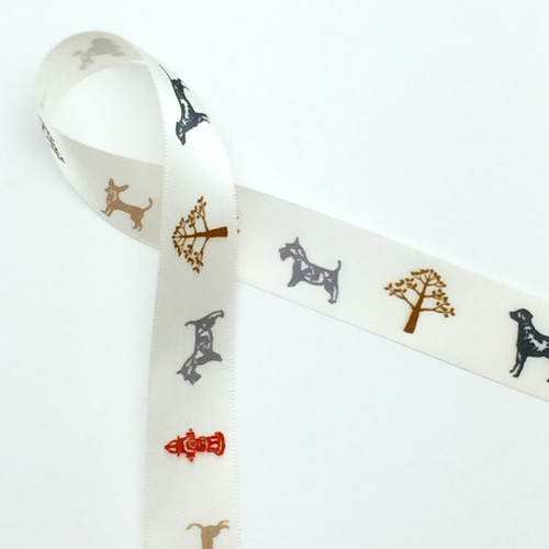 "Dogs on Parade on 7/8"" Antique white single face satin ribbon, 10 Yards"